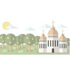church with domes and crosses against the backdrop vector image