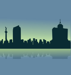 city mexico at sunrise scenery silhouettes vector image
