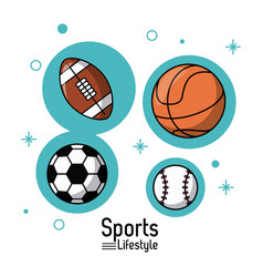 Colorful poster of sports lifestyle with balls of vector