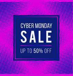 Cyber monday sale concept banner 1980-1990s style vector