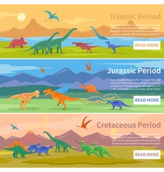 Dinosaurs Flat Horizontal Banners vector image vector image