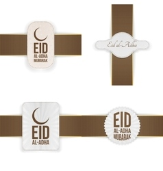 Eid al-adha mubarak badges collection vector