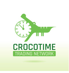 Green crocodile alligator animal icon text vector