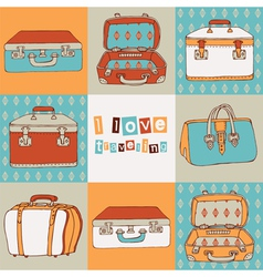 Hand drawn suitcases vintage pattern vector