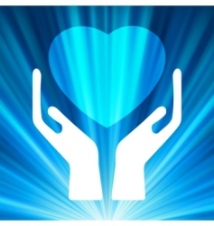heart in open hands vector image vector image