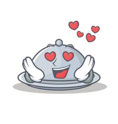In love tray character cartoon style vector