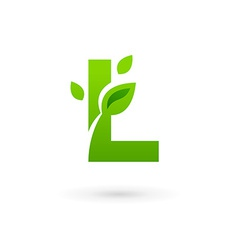 Letter l eco leaves logo icon vector