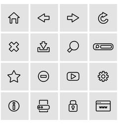 Line browser icon set vector