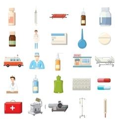 Medicine equipment icons set cartoon style vector