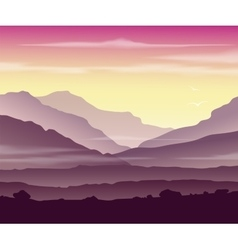 Mountain landscape at sunset vector