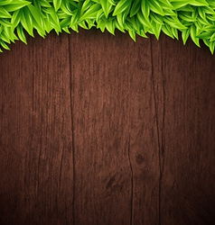 Natural background with wooden board and leaves vector image vector image