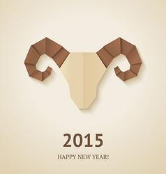 Origami goat on beige background vector image