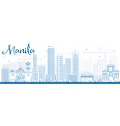 Outline manila skyline with blue buildings vector