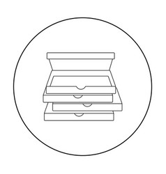 pizza boxes icon in outline style isolated on vector image vector image