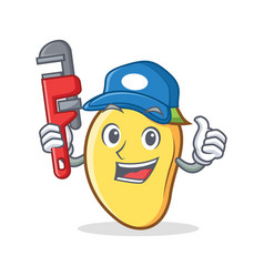 Plumber mango character cartoon mascot vector
