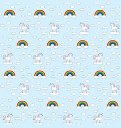 seamless unicorns and rainbows pattern vector image