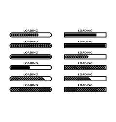 Set of loading uploading downloading status bar vector