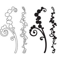 set of two branches with a pattern vector image vector image