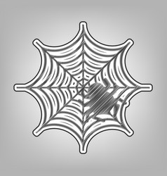 Spider on web pencil sketch vector