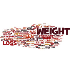 Teen weight loss facts text background word cloud vector
