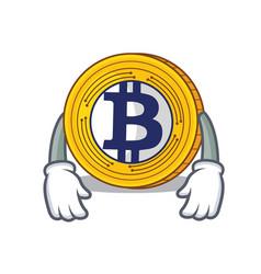 Tired bitcoin gold character cartoon vector