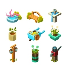 Video game garden landscape design collection of vector