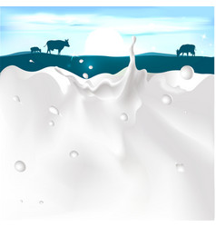 White splash milk on dark blue background wi vector