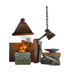 Workplace of blacksmith on white background vector image