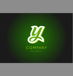 Y alphabet letter logo green 3d company icon vector
