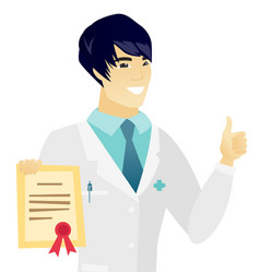Young asian doctor holding a certificate vector