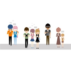 People using their mobile phones and tablets vector image