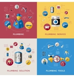 Plumbing composition or icon set vector