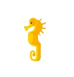 Yellow seahorse primitive style childish sticker vector