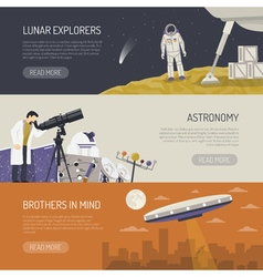 Astronomy flat horizontal banners vector