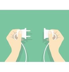 Two hands trying to connect electric plug vector