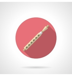 Block flute flat round icon vector