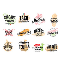 Hand drawn mexican food logos vector