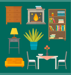 furniture home decor icon set indoor cabinet vector image