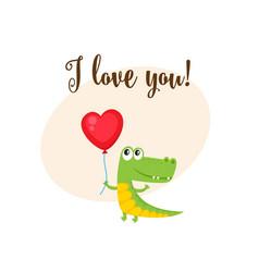 I love you card with crocodile holding heart vector