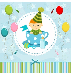 Baby boy in cup vector