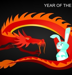 Dragon and rabbit vector