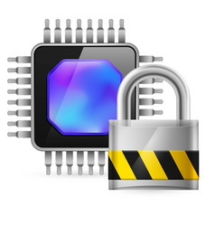 Chip and padlock on white background vector