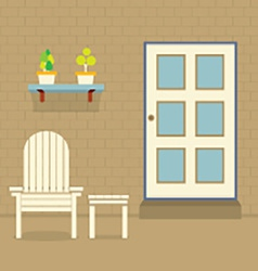 Garden chair and table with pot plants on brick vector