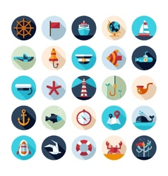 Set of vintage flat design modern nautical marine vector