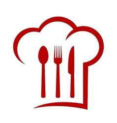 Red icon with chef hat vector