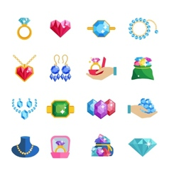 Precious jewels icons flat vector
