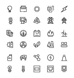 Energy line icons 1 vector