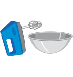Electric hand mixer and mixing bowl vector