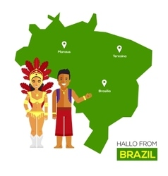 Travel concept brazil landmark flat icons design vector