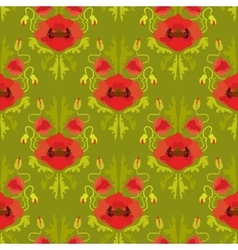 Seamless pattern with poppies on green background vector